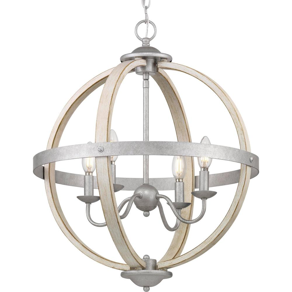 Progress Lighting Keowee 4 Light Galvanized Orb Chandelier With Antique White Wood Accents