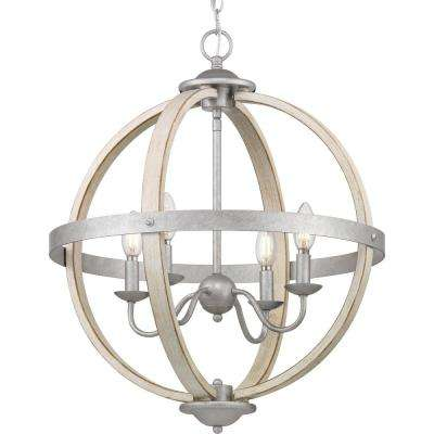 Keowee 4-Light Galvanized Orb Chandelier with Antique White Wood Accents
