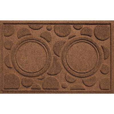Dark Brown 18 in. x 27 in. Dog Bowl Dots Polypropylene Pet Mat