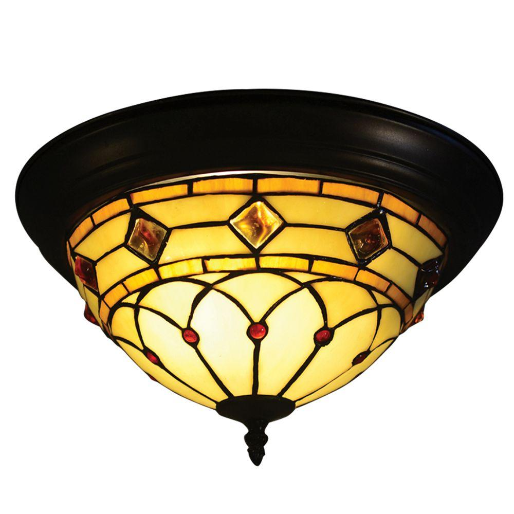 Ginger Diamond 2-Light Tiffany Bronze Semi Flush Mount