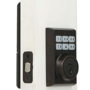 smartcode 909 single cylinder venetian bronze electronic deadbolt featuring smartkey