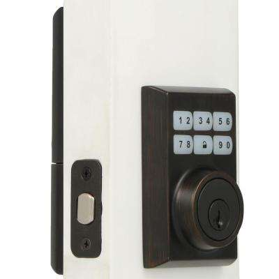 SmartCode 909 Contemporary Venetian Bronze Single Cylinder Electronic Deadbolt Featuring SmartKey Security