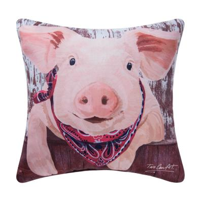 Pig 18 in. x 18 in. Pink Standard Pillow