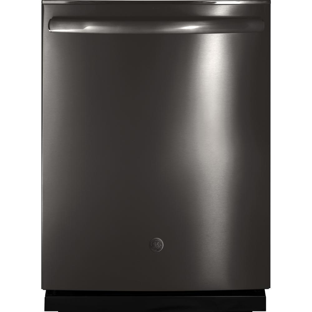 GE Top Control Dishwasher in Black Stainless Steel with Stainless Steel Tub, Steam Prewash, Fingerprint Resistant, 46 dBA