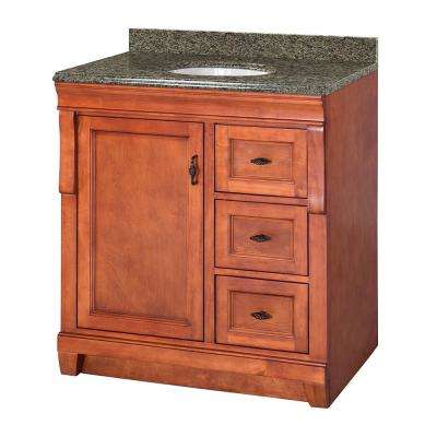 Naples 31 in. W x 22 in. D Vanity in Warm Cinnamon with Granite Vanity Top in Quadro with White Sink