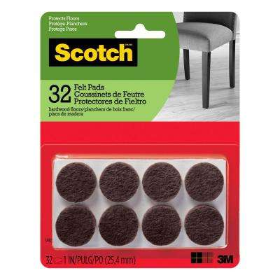 1 in. Brown Round Surface Protection Felt Floor Pads (32-Pack)