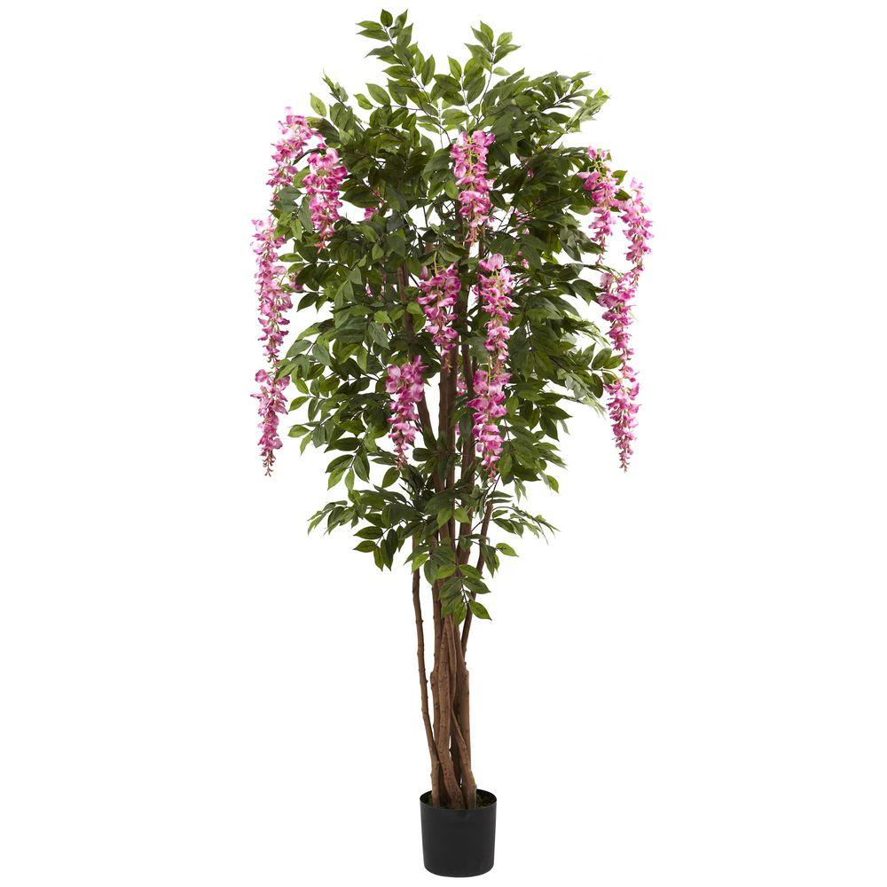 Nearly Natural 6.5 ft. Wisteria Silk Tree, Green/Pink