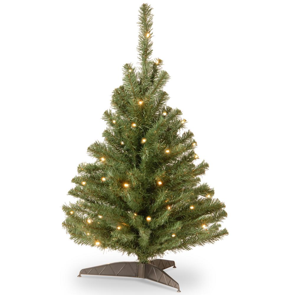 national tree company 3 ft kincaid spruce artificial christmas tree with clear lights