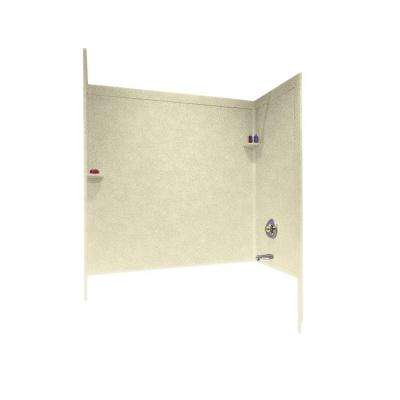 33-1/2 in. x 60 in. x 60 in. 3-Piece Easy Up Adhesive Tub Wall in Bone