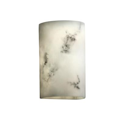LumenAria 2-Light Large Off-White Wall Sconce with Faux Alabaster Shade