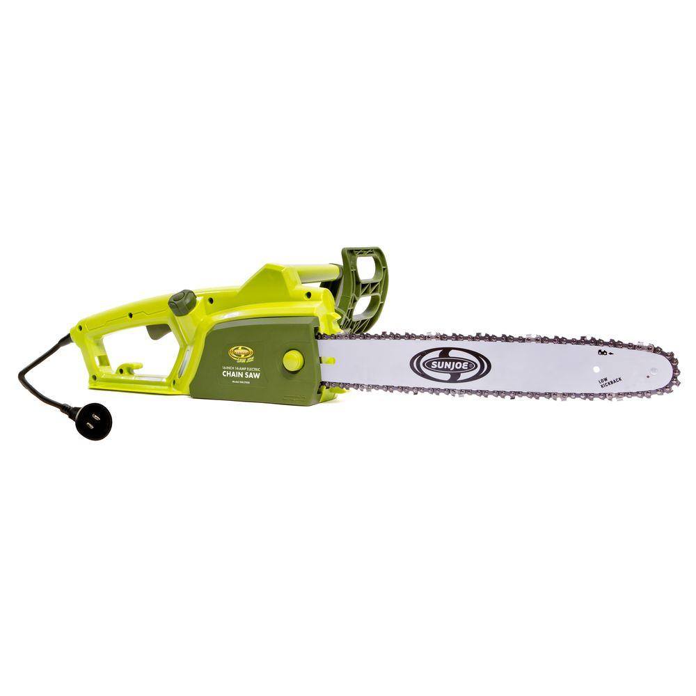 Sun joe saw joe 16 in 14 amp electric chainsaw swj700e the home 14 amp electric chainsaw greentooth