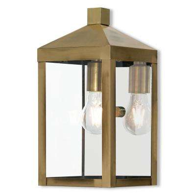 Nyack Collection 1 Light Antique Brass Outdoor Wall Mount Sconce