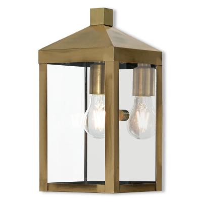 Nyack Collection 1 Light Antique Brass Outdoor Wall Lantern Sconce