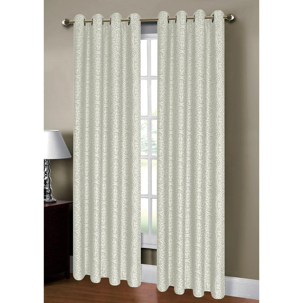Window Elements Semi Opaque Mirabel Jacquard 54 In W X 84 L Grommet Extra Wide Curtain Panel