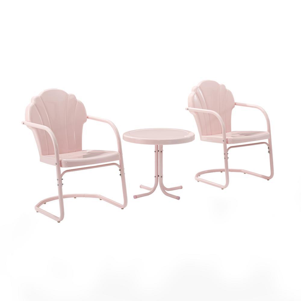 Tulip Pink 3-Piece Metal Patio Conversation Set