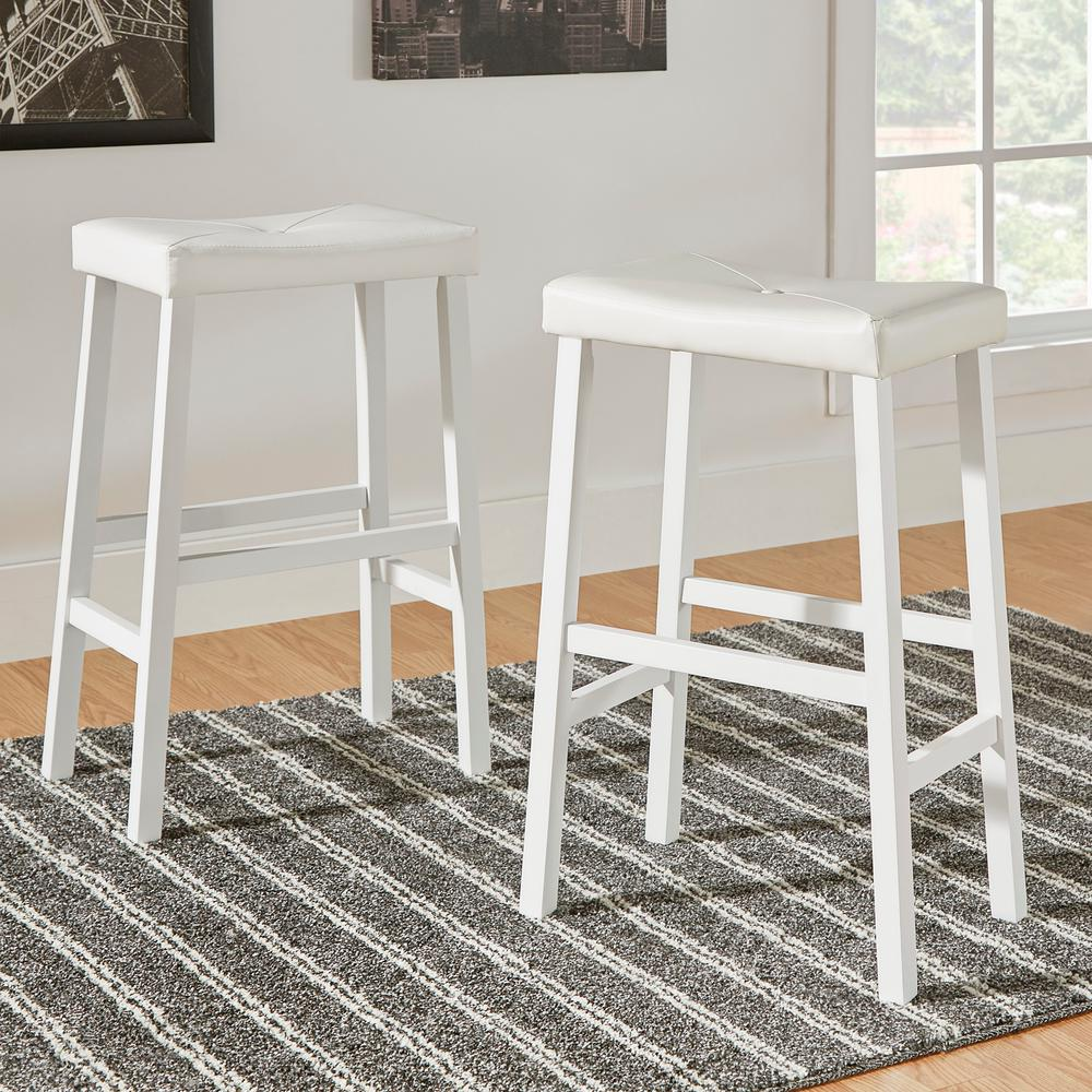 Home Decorators Collection 29 In White Cushioned Bar Stool Set Of 2 405310w 29 3a 2pc The