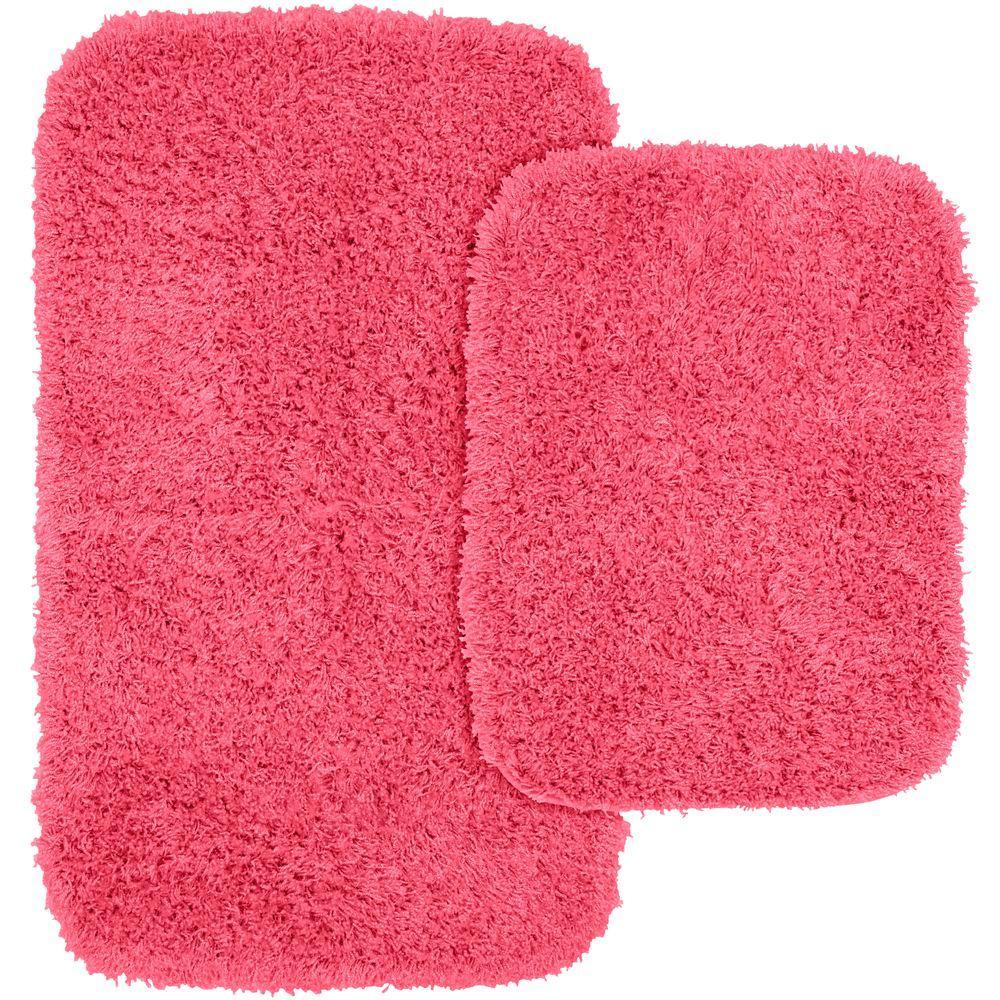 Jazz Pink 21 In. X 34 In. Washable Bathroom 2 Piece Rug Set