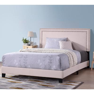 81-in H Milan Upholstered Platform Bed with Wooden Slats and Nailhead, Full Size