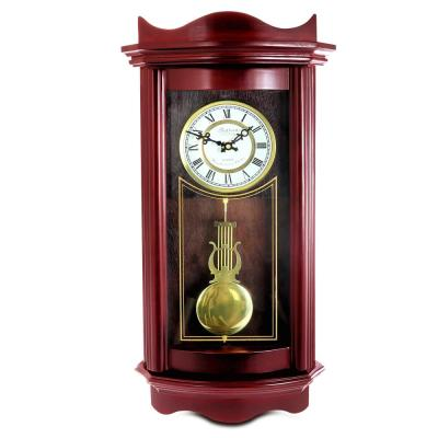 Weathered Chocolate Cherry Wood 25 Inch Wall Clock with Pendulum