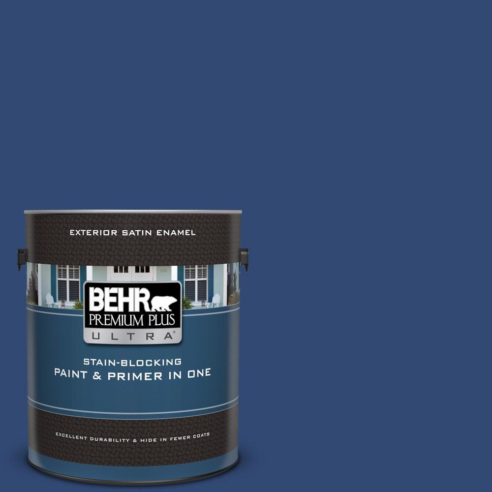 S H 580 Navy Blue Satin Enamel Exterior Paint And Primer In One