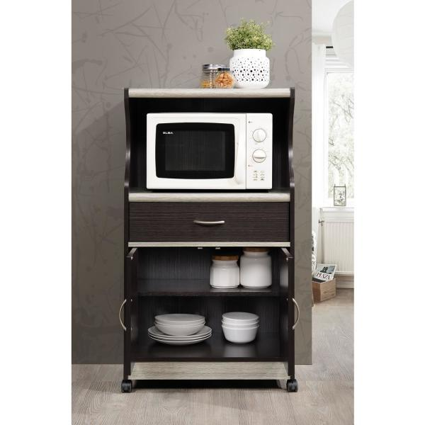 Hodedah Grey Microwave Cart With