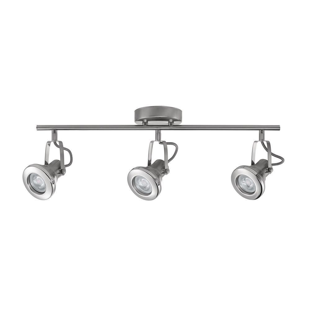 hampton bay 2 ft 3 light brushed steel led track lighting kit 59118