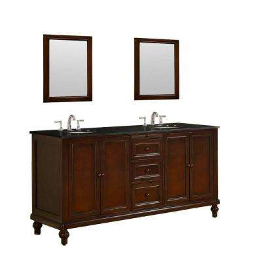 Classic 70 in. Vanity in Dark Brown with Granite Vanity Top in Black and Mirrors