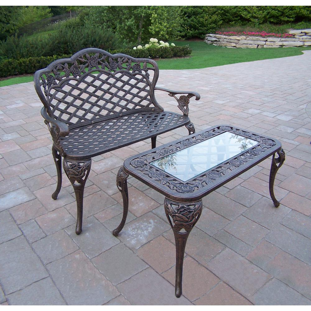 Tea rose cast aluminum loveseat bench and cocktail table for Cocktail table with 4 benches