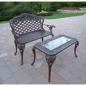 Click here to buy  Tea Rose Cast Aluminum Loveseat Bench and Cocktail Table Set.