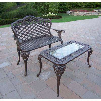 Tea Rose Cast Aluminum Loveseat Bench and Cocktail Table Set