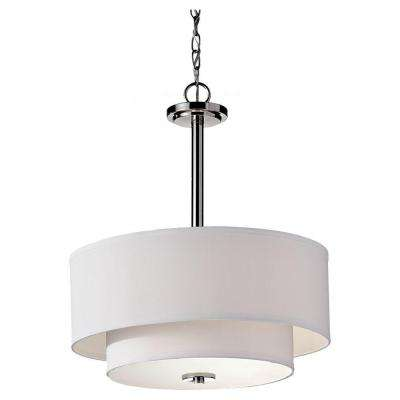 Malibu 3-Light Brushed Nickel Shade Pendant