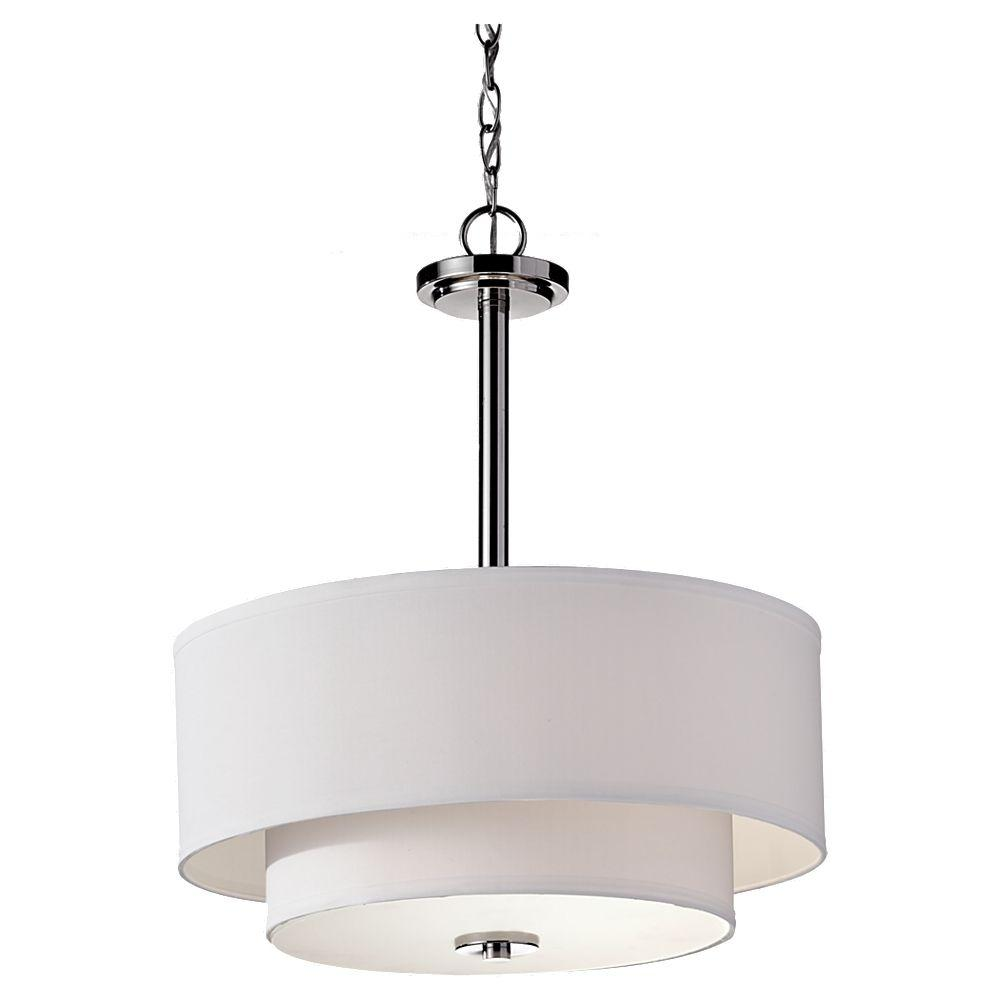 Feiss Malibu 3 Light Brushed Nickel Shade Pendant