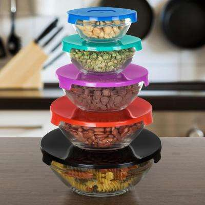 10-Piece Glass Bowl Set with Multi Colored Lids