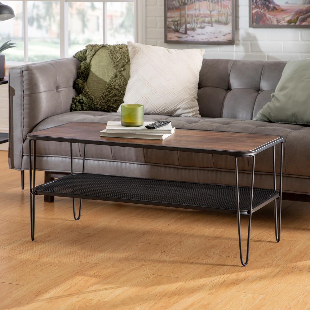 42 in. Dark Walnut/Black Large Rectangle Wood Coffee Table with Lower Mesh Shelf