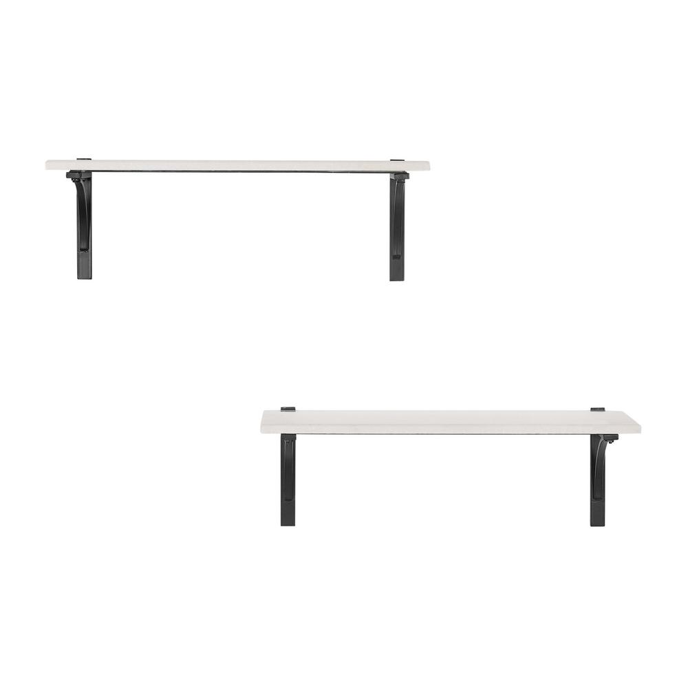 8 in. H x 24 in. W x 8 in. D Home Decorators Collection Marble Wall-Mount Shelf with Black Metal Brackets (Set of 2)