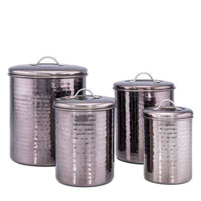 "4-Piece ""Black Pearl"" Hammered Canister Set with Fresh Seal Covers"