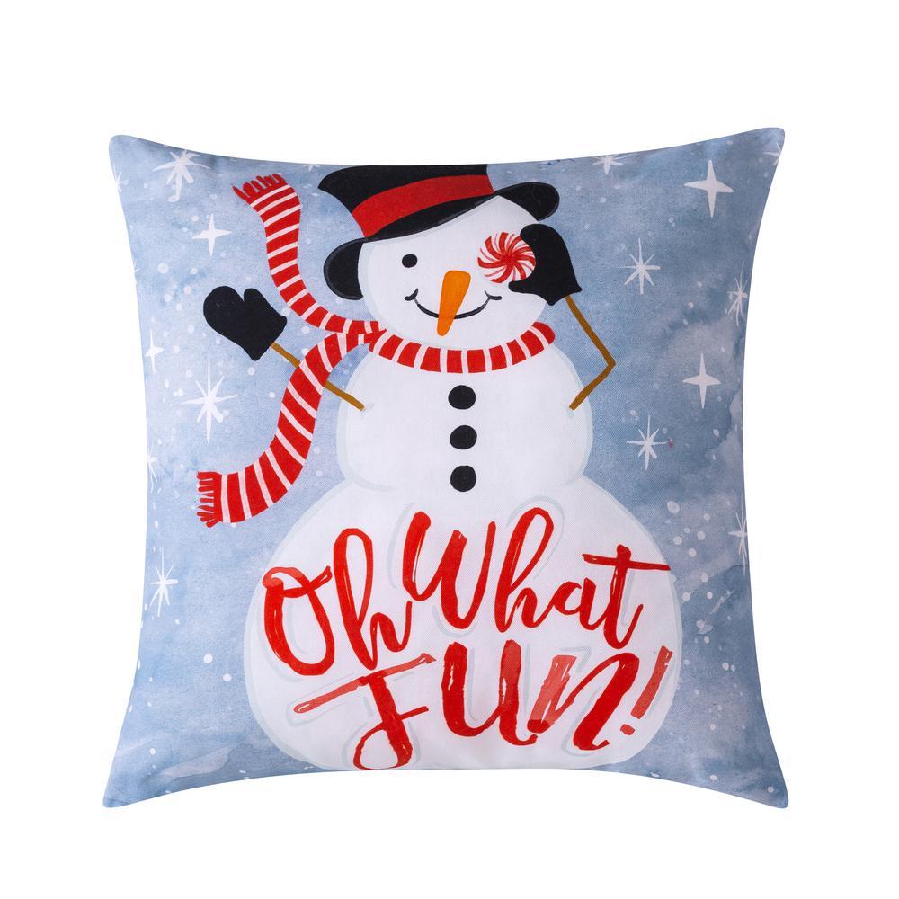 Sara B Snowman Blue Plush Polyester 20 In X 20 In Throw Pillow Sb318mu20 The Home Depot