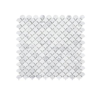 Cloudy Daze White 11.5 in. x 11 in. Fan Honed Natural Stone Wall and Floor Mosaic Tile (0.878 sq. ft./Each)