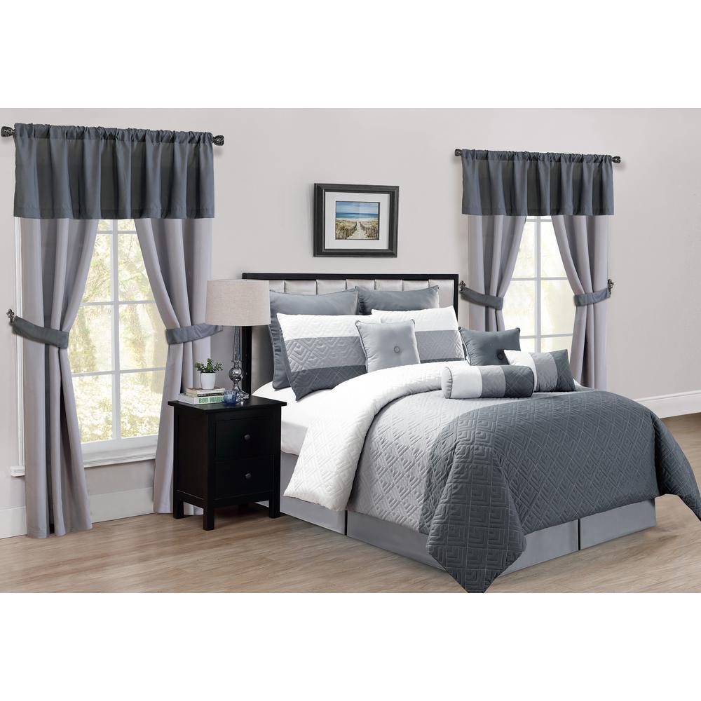 Somorset 20-Piece Grey Queen Comforter Set
