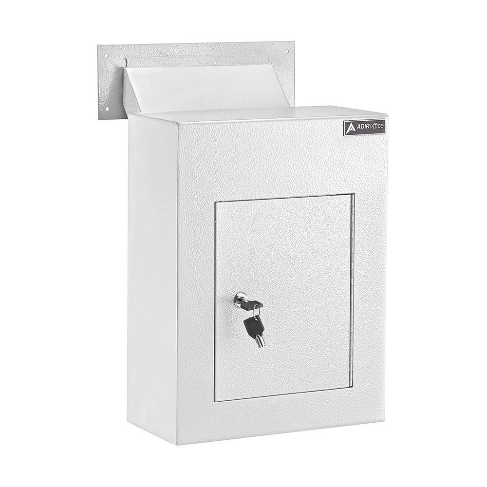 AdirOffice White Steel Through the Wall Drop Box with Adjustable Chute Mail Receptacle