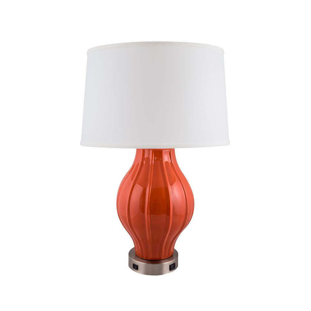 Large Fluted Lamp With Usb Base 27 5 In Paprika Indoor Table