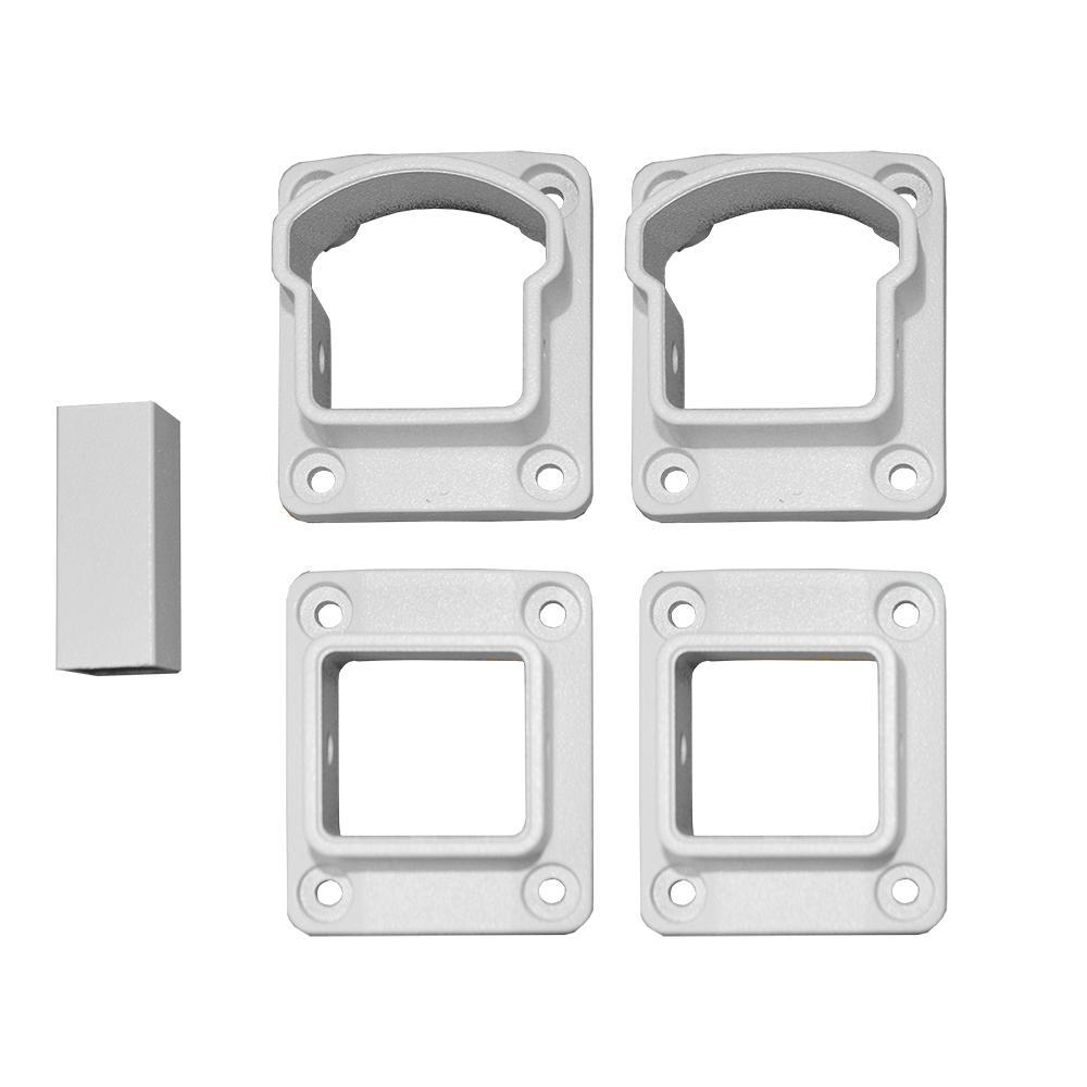 Stanford Textured White Aluminum Straight Railing Bracket Kit (4-Piece)