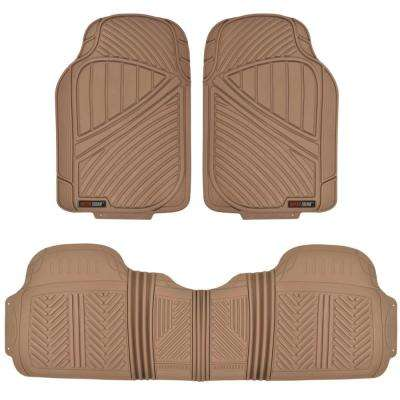 FlexTough MT-773 Beige Heavy Duty 3 Piece All Weather Rubber Car Floor Mats