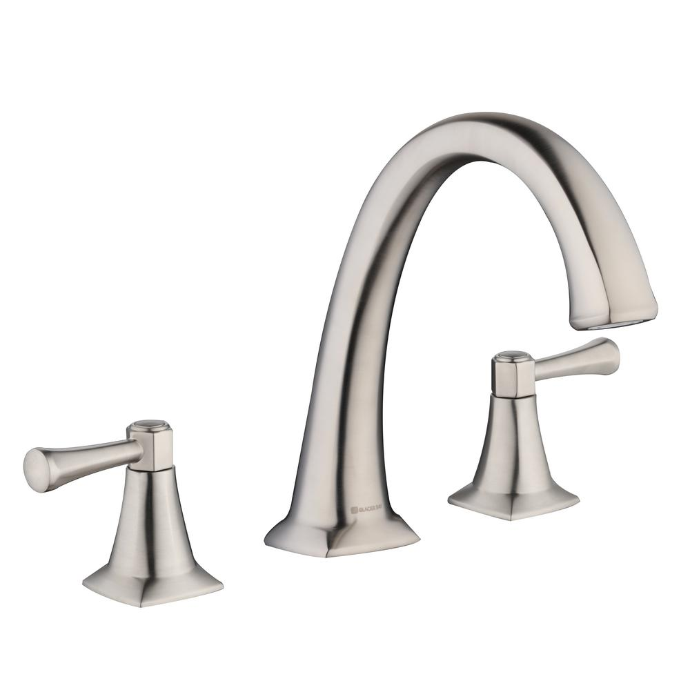 Stillmore 2-Handle Deck-Mount Roman Tub Faucet in Brushed Nickel