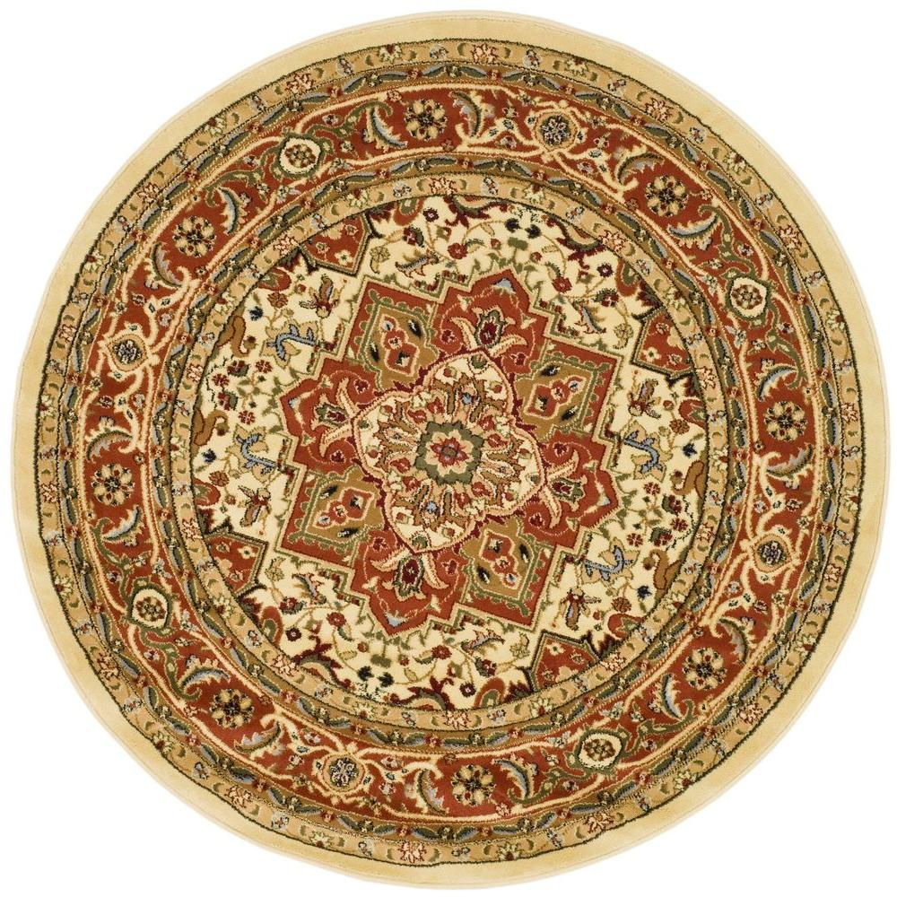 Safavieh Lyndhurst Ivory/Rust 5 ft. 3 in. x 5 ft. 3 in. Round Area Rug