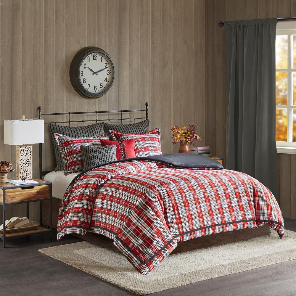 Williamsport Plaid 4-Piece Red Queen Classic Comforter Set