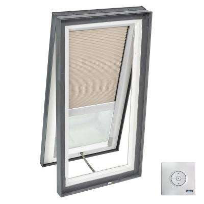 22.5 in. x 34.5 in. Solar Powered Venting Curb-Mount Skylight, Laminated LowE3 Glass, Classic Sand Light Filtering Blind
