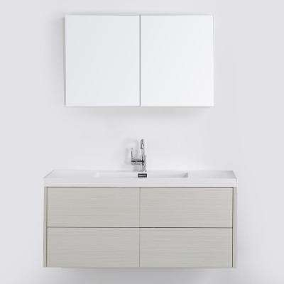 47.2 in. W x 19.3 in. H Bath Vanity in Gray with Resin Vanity Top in White with White Basin and Mirror