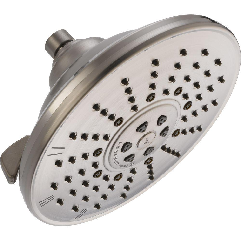 Delta 3-Spray 8.16 in. Fixed Showerhead in Stainless-52680-SS - The ...
