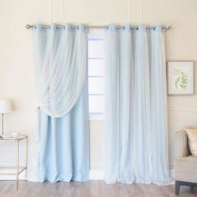 84 in. L Sky Blue Marry Me Lace Overlay Blackout Curtain Panel (2-Pack)